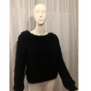Lucca Couture Black Furry Sweater
